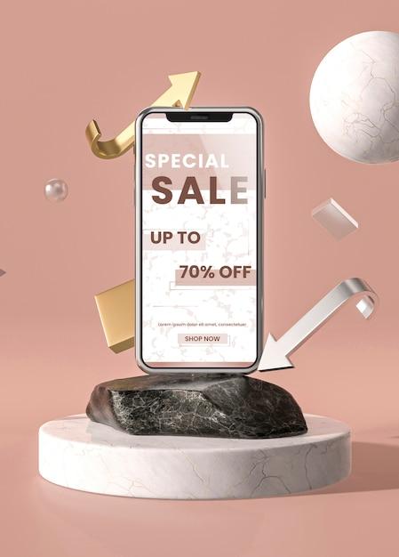 Handy 3d modell mit marmor und halter Kostenlosen PSD