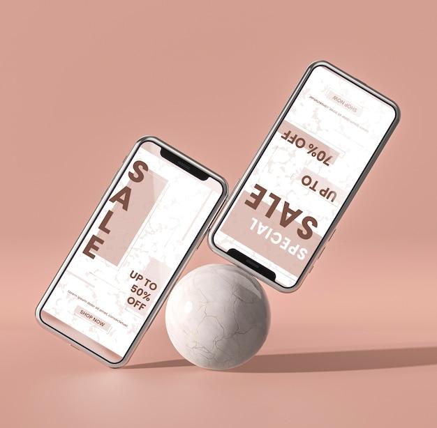 Handy 3d modell und white ball konzept Kostenlosen PSD