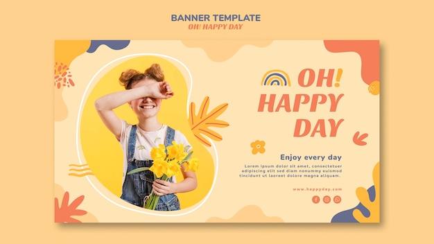 Happy day concept banner vorlage design Premium PSD