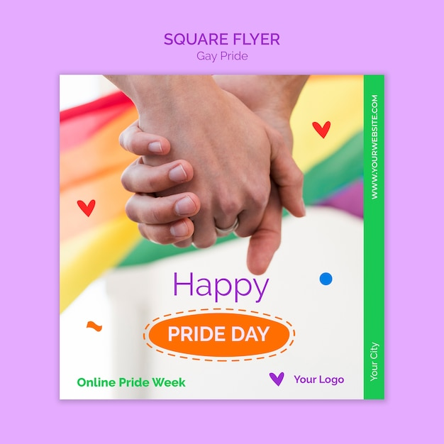 Happy pride day square flyer Kostenlosen PSD