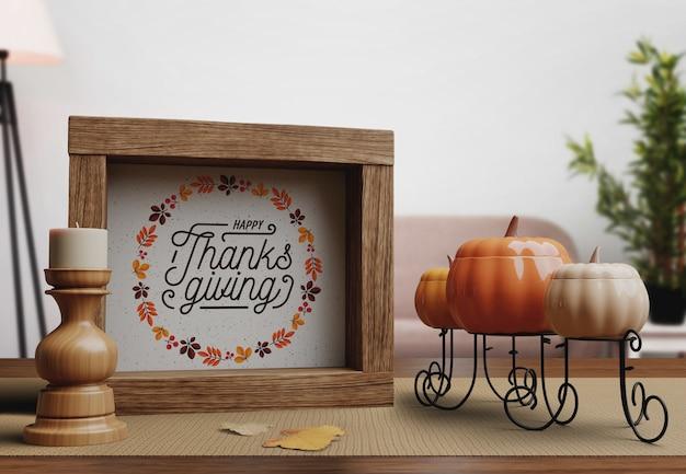 Happy thanksgiving day nachricht auf frame Kostenlosen PSD