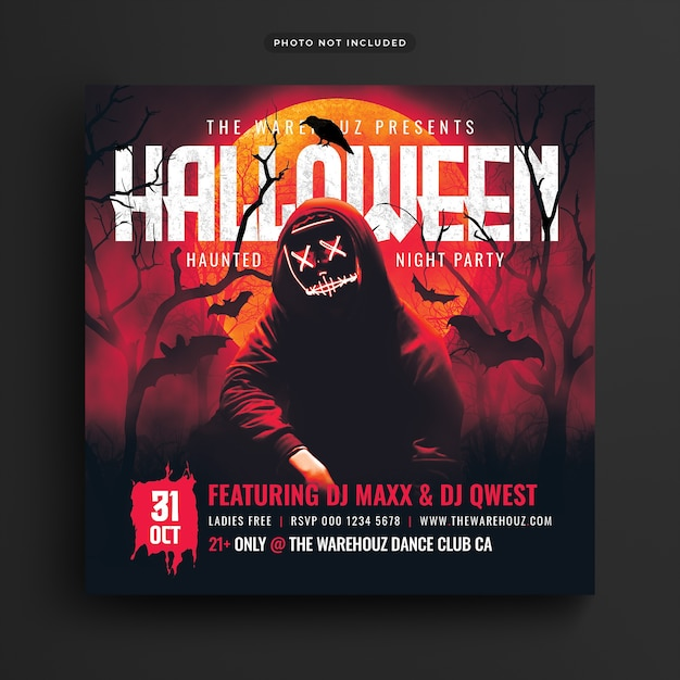 Haunted halloween party flyer social media post und web banner Premium PSD