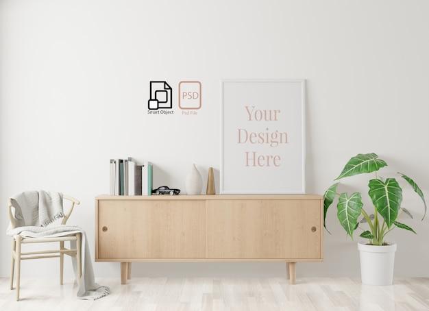 Hauptinnenplakatmodell mit rahmen auf dem boden und weißer wand, wohnzimmerhintergrund. 3d-rendering. Premium PSD