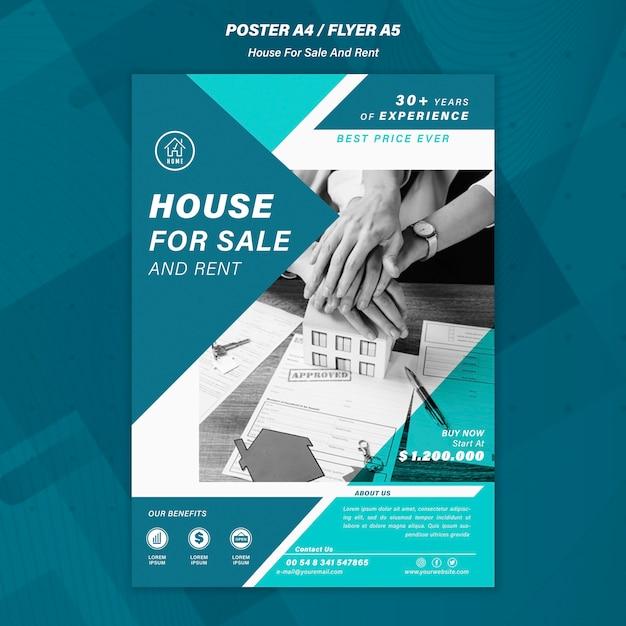 Haus, das plakatschablone verkauft Kostenlosen PSD