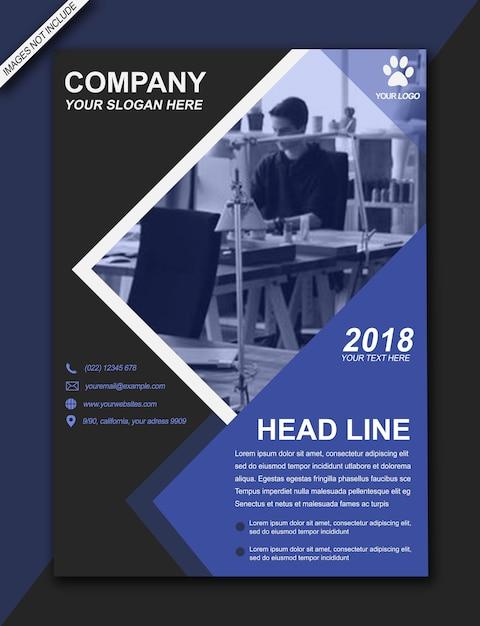 Headline flyer blau schwarz moderne bussiness broschüre - a3 größe Premium PSD