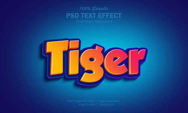 Heißer gelber und roter farbverlauf-tiger-texteffekt Premium PSD
