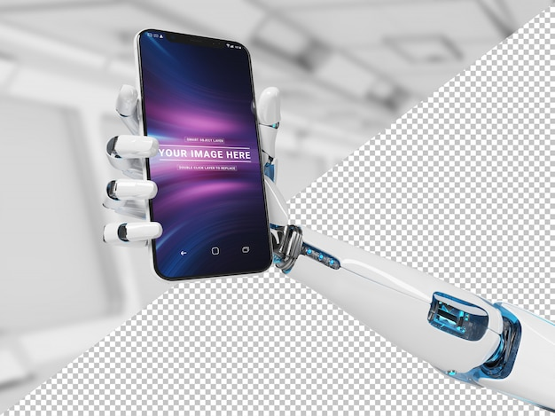 Herausgeschnittene weiße roboterhand, die modernes smartphonemodell hält Premium PSD