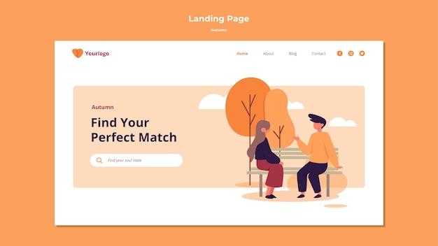 Herbst landing page template design Kostenlosen PSD