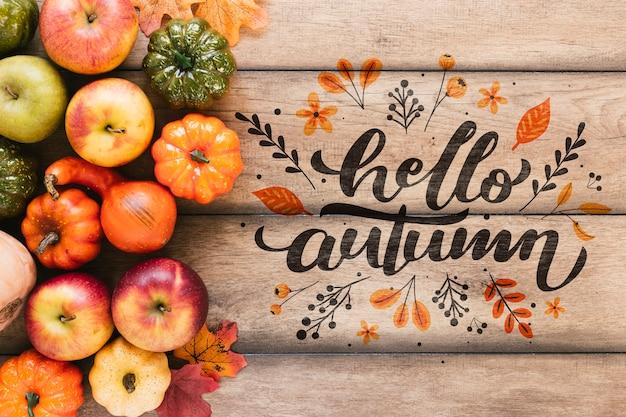 Herbst obst und gemüse mit zitat Kostenlosen PSD