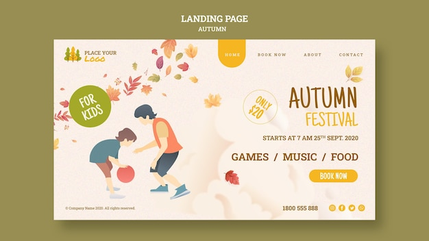 Herbstfest für kinder landingpage Kostenlosen PSD