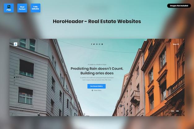 Hero header für immobilien-websites Premium PSD