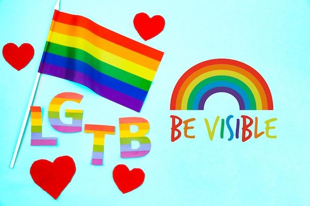 Hintergrund des homosexuellen stolzes mit der regenbogenflagge Kostenlosen PSD