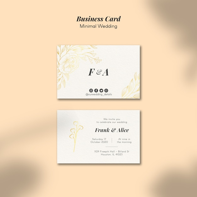 Hochzeit visitenkartenvorlage Kostenlosen PSD