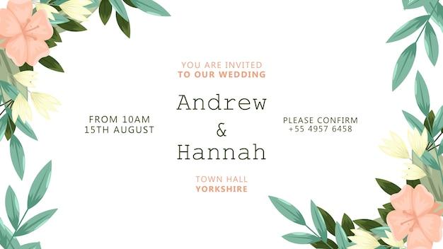 Hochzeitseinladung mit blumenrahmen Kostenlosen PSD