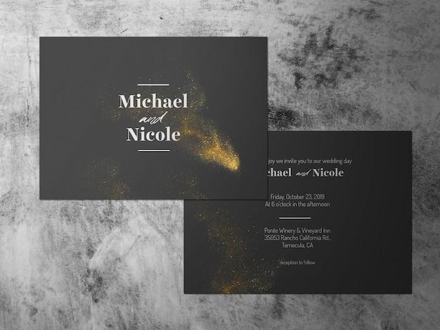 Hochzeitseinladung, stellte zwei goldschwarzweiß-themenkarte gegenüber Premium PSD