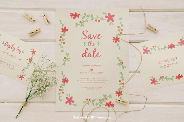 Hochzeitseinladungen und hochzeitselemente Kostenlosen PSD