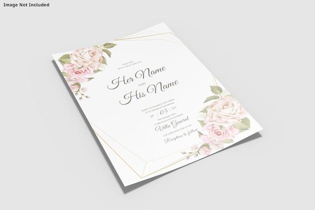 Hochzeitseinladungskartenschablone insolated Premium PSD