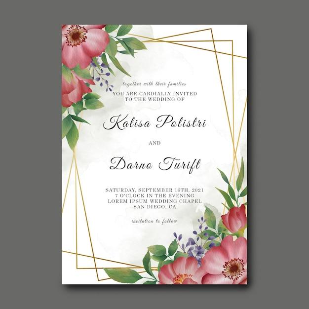 Hochzeitseinladungskartenschablone mit aquarellblumendekorationen und goldrahmen Premium PSD