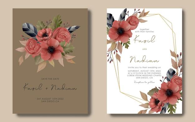 Hochzeitseinladungskartenschablone mit aquarellblumenrahmen Premium PSD