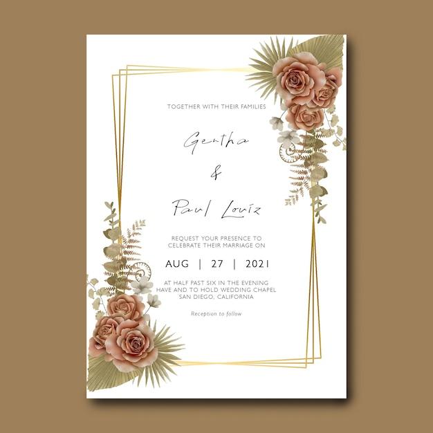 Hochzeitseinladungskartenschablone mit blumenstrauß und trockenen blättern des aquarells Premium PSD