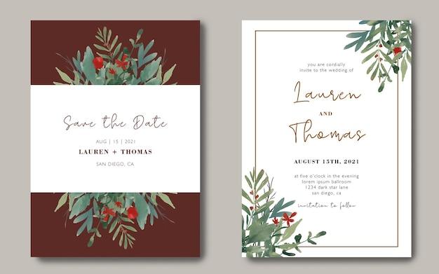Hochzeitseinladungskartenschablone mit einem blumenstrauß von aquarellblättern Premium PSD