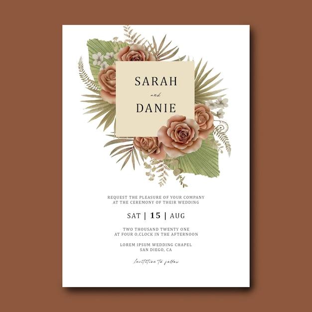 Hochzeitseinladungskartenschablone mit einem strauß tropischer blätter und aquarellrosen Premium PSD