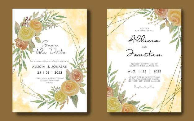 Hochzeitseinladungskartenschablone mit geometrischem rahmen und aquarellblumenstrauß Premium PSD