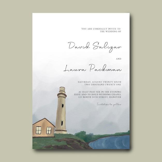 Hochzeitseinladungskartenschablone mit leuchtturm-landschaftsdekorationshand gezeichnet Premium PSD
