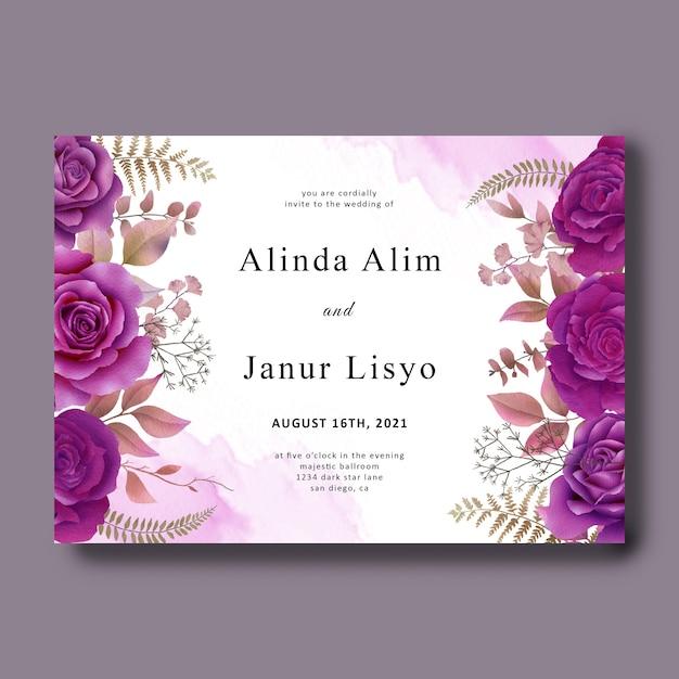 Hochzeitseinladungskartenschablone mit lila rosen des aquarells Premium PSD