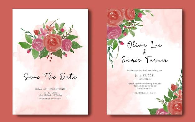 Hochzeitseinladungskartenvorlagen und speichern sie die datumskarten mit aquarell Premium PSD