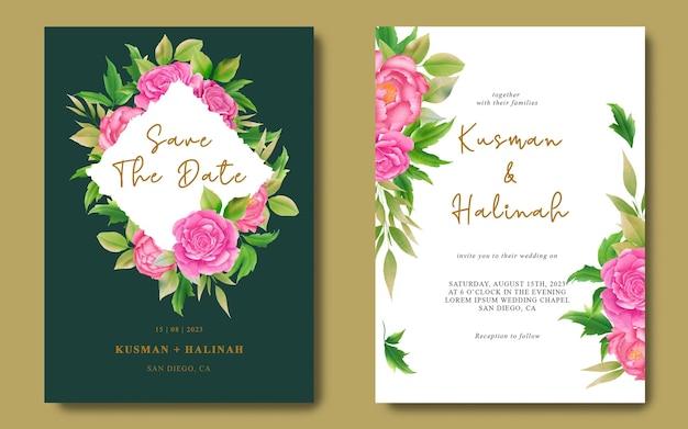 Hochzeitseinladungskartenvorlagen und speichern sie die datumskarten mit aquarelldekorationen Premium PSD
