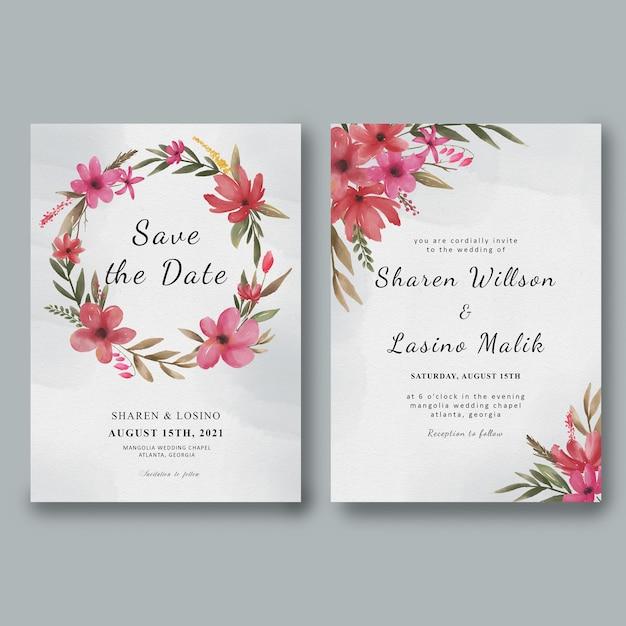 Hochzeitseinladungsschablone mit aquarellblumenrahmen und aquarell Premium PSD