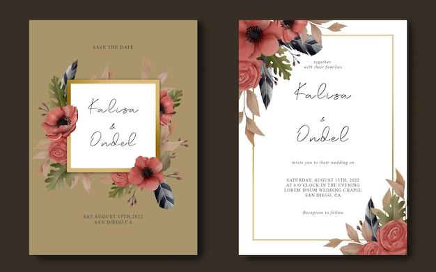 Hochzeitseinladungsschablone mit aquarellblumenrahmen Premium PSD