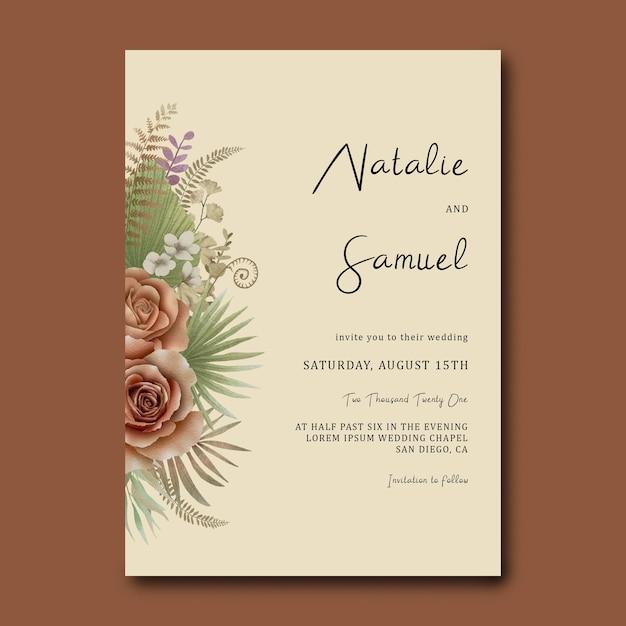 Hochzeitseinladungsschablone mit einem strauß tropischer blätter und aquarellrosen Premium PSD
