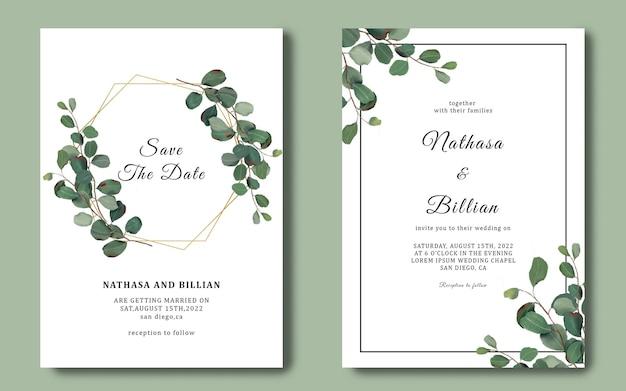 Hochzeitseinladungsschablone mit eukalyptusblattrahmen Premium PSD
