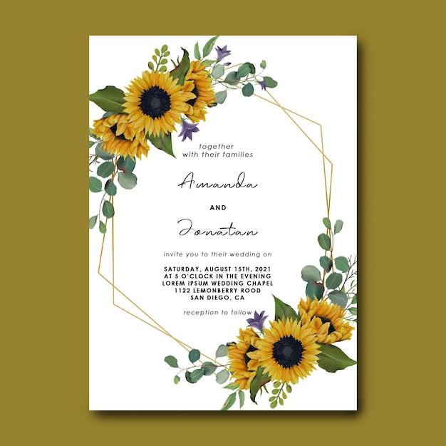 Hochzeitseinladungsschablone mit hand gezeichnetem sonnenblumenrahmen Premium PSD