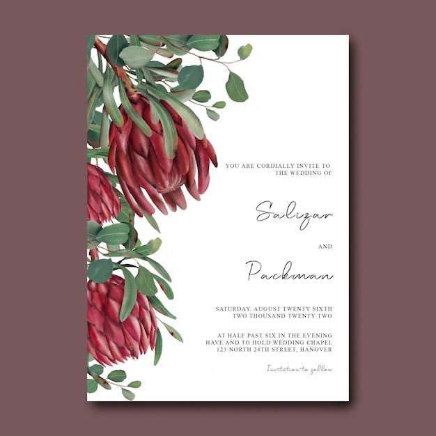 Hochzeitseinladungsschablone mit hand gezeichneten blumen Premium PSD