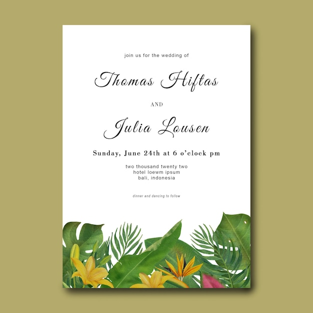 Hochzeitseinladungsschablone mit hand gezeichneten tropischen blattrahmen Premium PSD