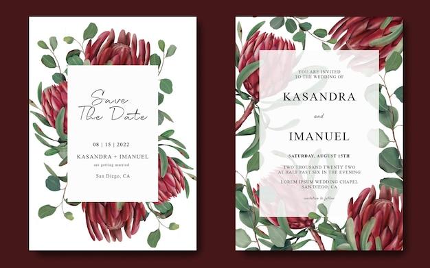Hochzeitseinladungsschablone mit handgezeichnetem protea-blumenrahmen Premium PSD