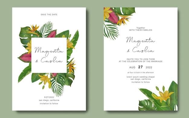 Hochzeitseinladungsschablone mit tropischem blattrahmen Premium PSD