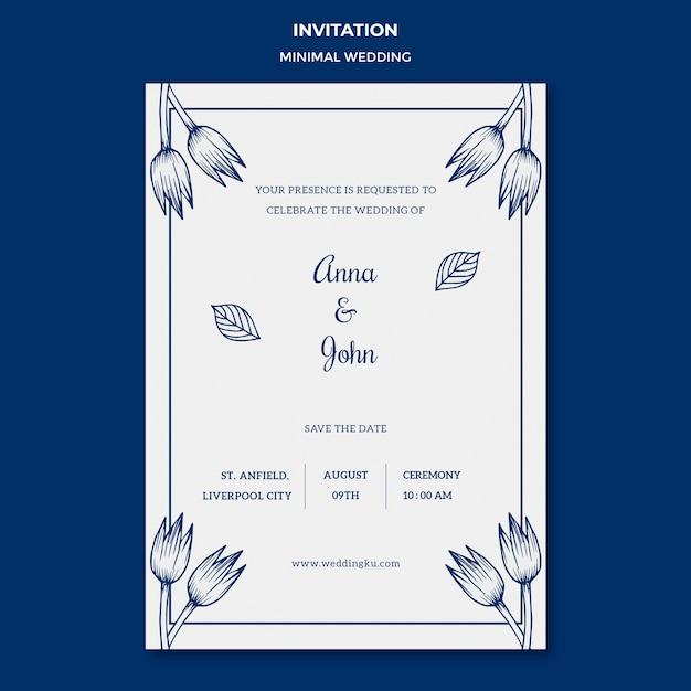 Hochzeitsschablone für einladungskarte Kostenlosen PSD