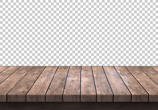 Hölzerne tischplatte lokalisiert auf transparentem Premium PSD