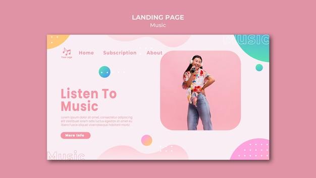 Hören sie musik-landingpage-vorlage Premium PSD