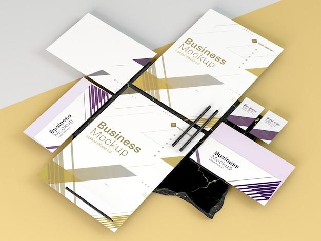 Hohe ansicht des geschäftsbriefpapier-modellkopierraums Premium PSD