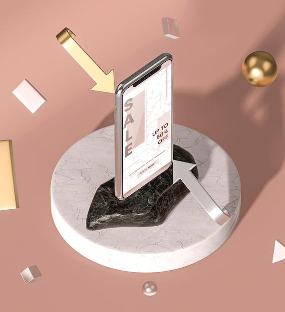 Hohe ansicht des mobiltelefons 3d modell Kostenlosen PSD