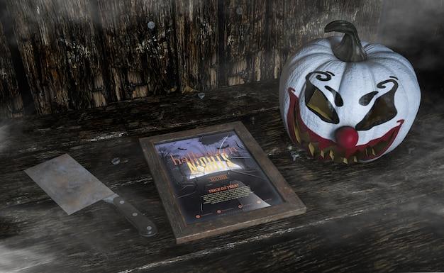 Hohe ansicht schoss vom furchtsamen clownkürbis- und -halloween-nachtrahmen Kostenlosen PSD