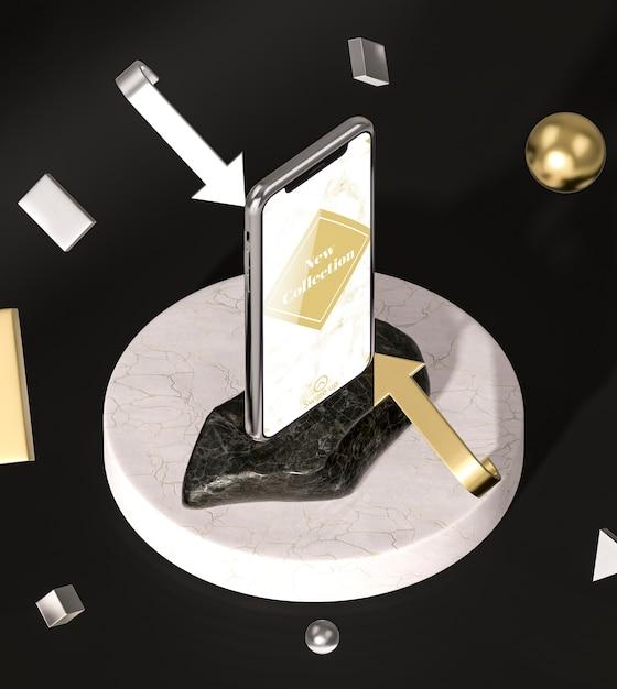Hohe ansicht und pfeile des 3d-modell-smartphones Kostenlosen PSD