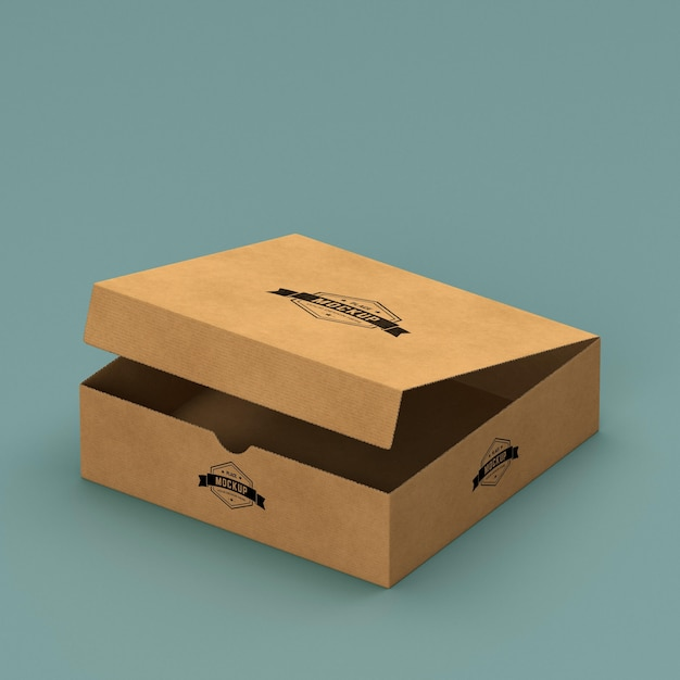 Hoher winkel des verpackungskartonmodells Kostenlosen PSD