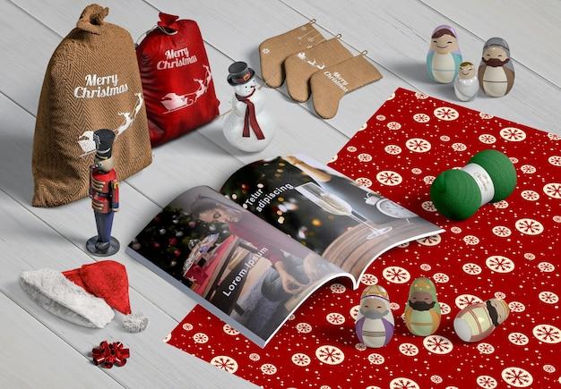 Hoher winkel des weihnachtsszenenschöpfers Kostenlosen PSD