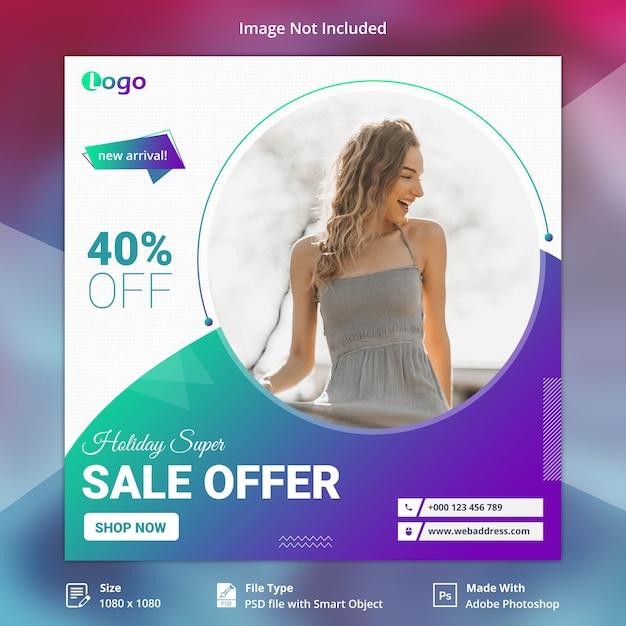 Holiday sale bieten social-media-banner Premium PSD